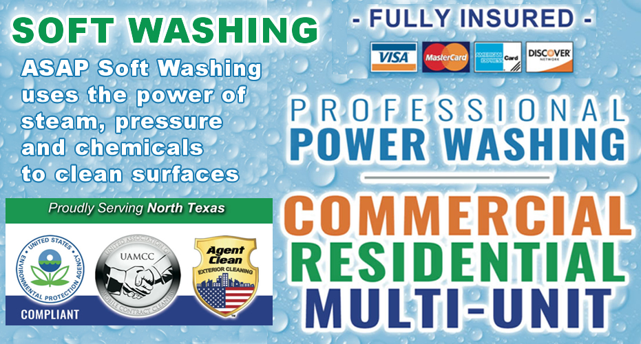 Soft Washing w Chemicals, Pressure and Steam / ASAPpowerwashing.com